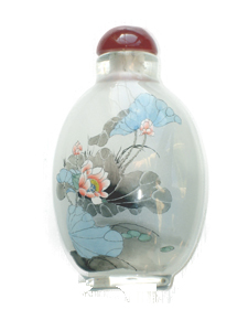 inside painted snuff bottle beautiful lotus blossoms